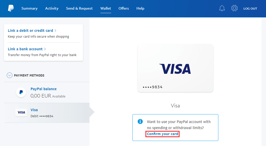 Confirmare card PayPal